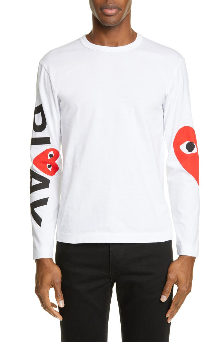 COMME DES GARÇONS PLAY Logo Long Sleeve Graphic Tee, Main, color, WHITE