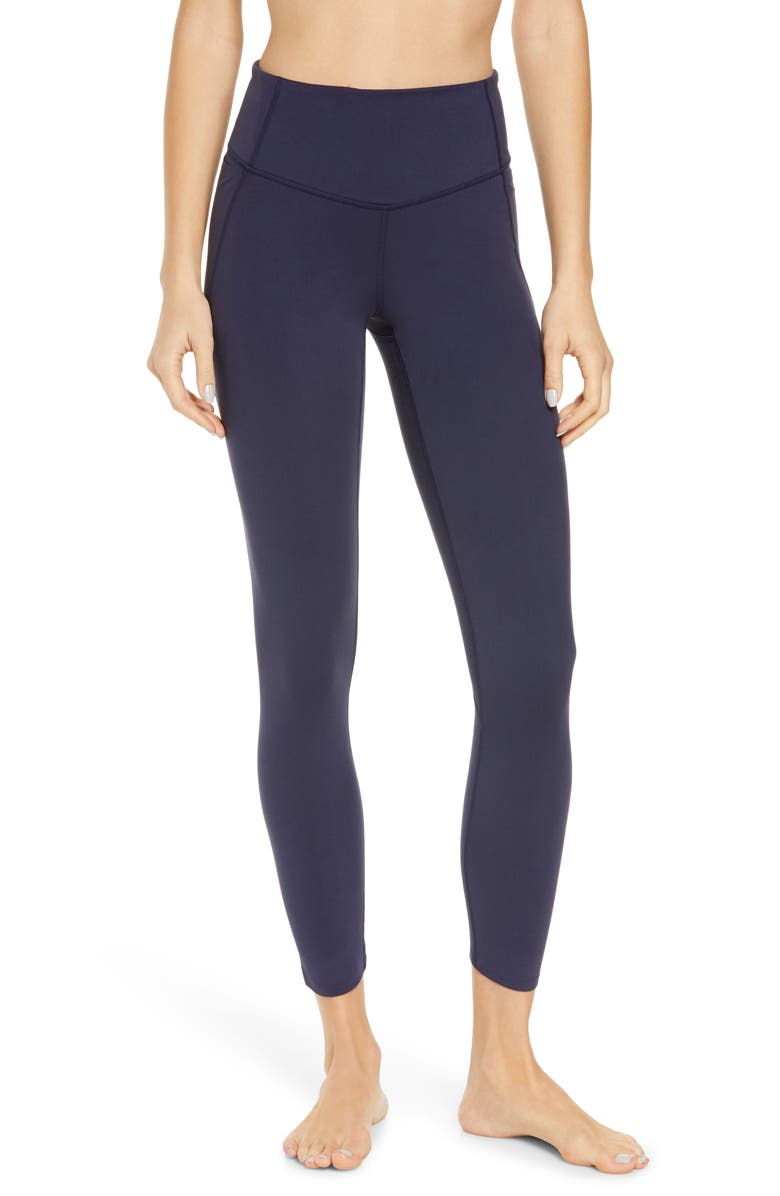 ZELLA High Waist Studio Lite Pocket 7/8 Leggings, Main, color, NAVY NIGHTFALL