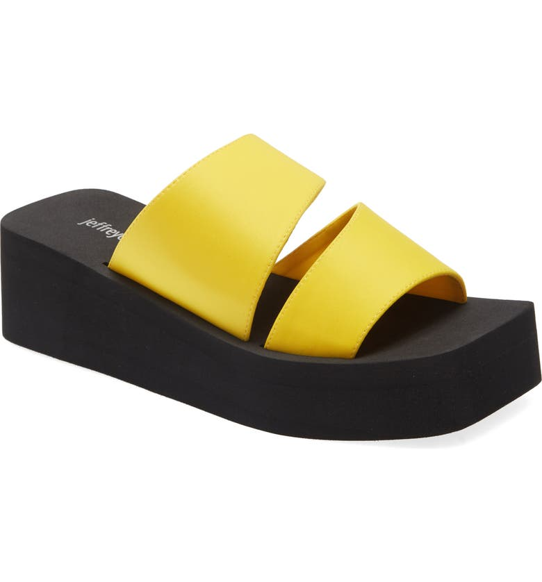 JEFFREY CAMPBELL Wavey Wedge Slide Sandal, Main, color, YELLOW NEOPRENE