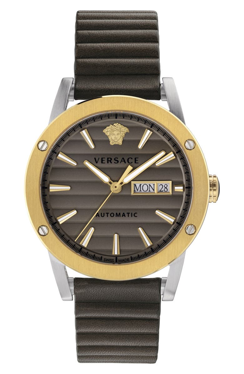 VERSACE Theros Automatic Leather Strap Watch, 42mm, Main, color, BROWN/ GREY/ GOLD