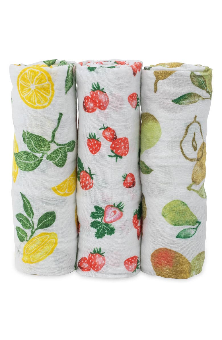 LITTLE UNICORN 3-Pack Cotton Muslin Blankets, Main, color, FRUIT STAND