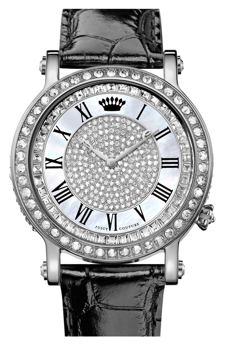 JUICY COUTURE 'Queen Couture' Leather Strap Watch, 42mm, Main, color, Black