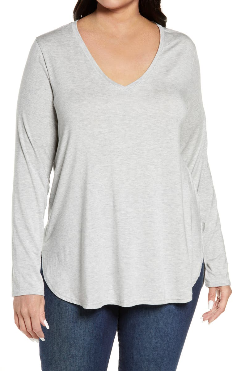 HALOGEN<SUP>®</SUP> Stripe Tunic, Main, color, GREY HEATHER
