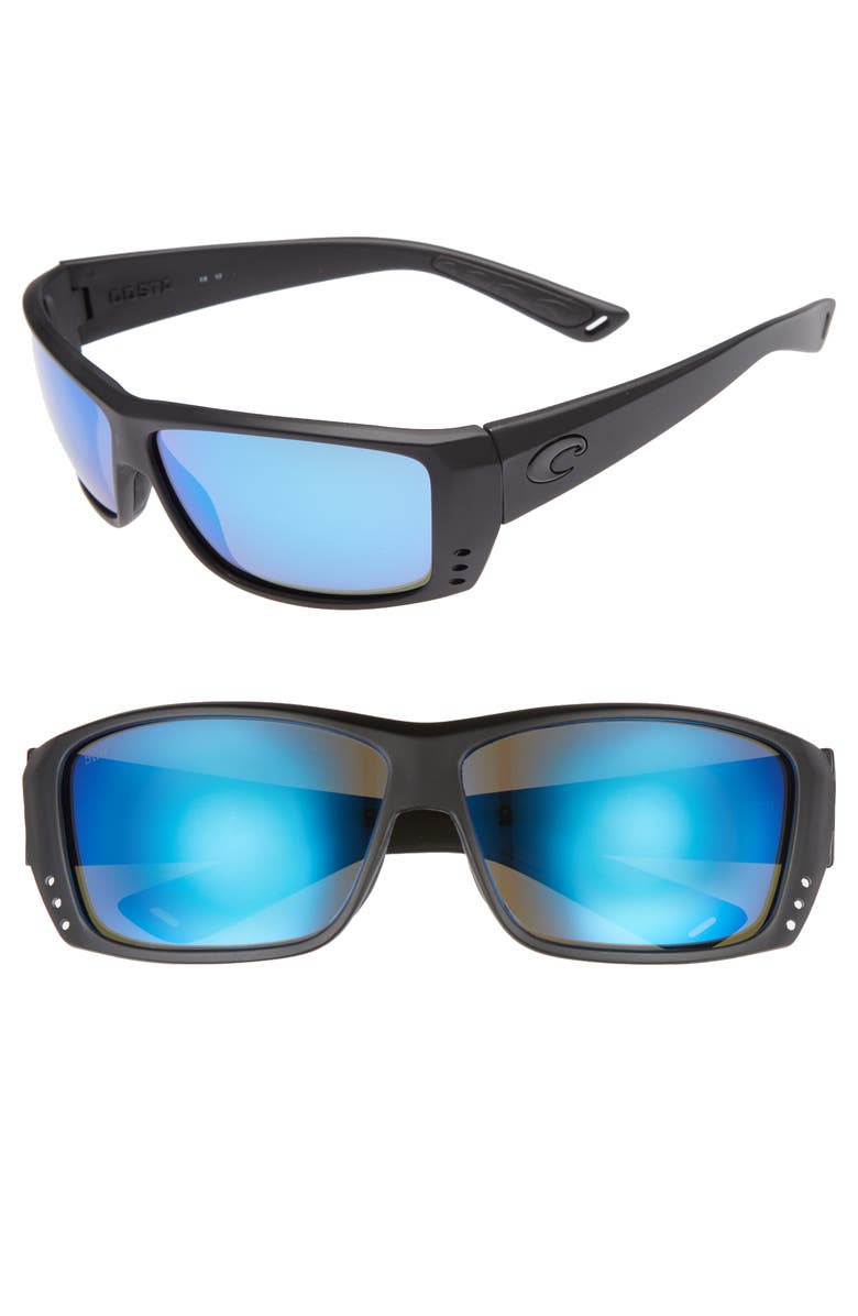COSTA DEL MAR Cat Cay 60mm Polarized Sunglasses, Main, color, BLACKOUT/ BLUE MIRROR