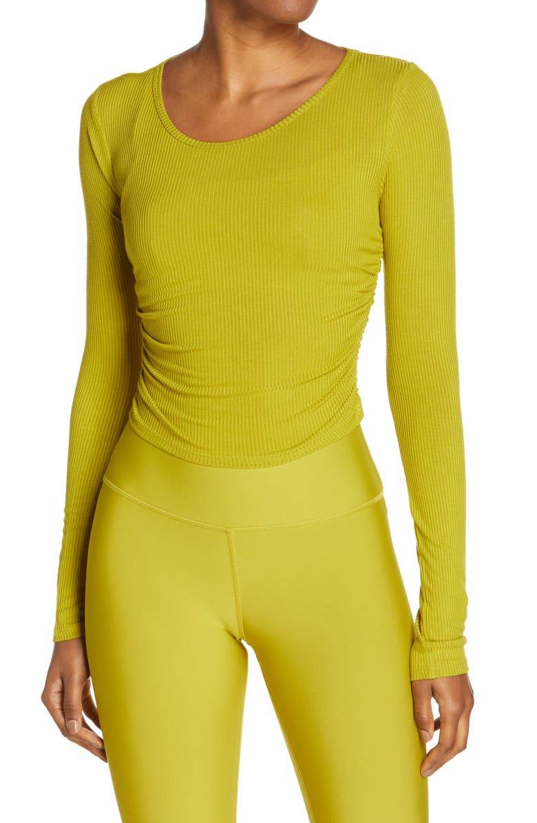 ALO Gather Long Sleeve Rib Crop Top, Main, color, CHARTREUSE