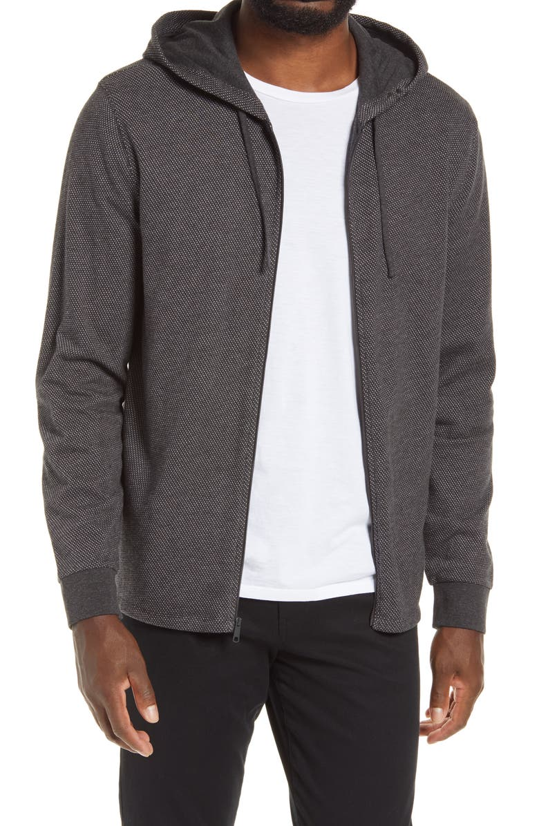 VINCE Regular Fit Birds Eye Zip Hoodie, Main, color, HEATHER CHARCOAL/ LECHE