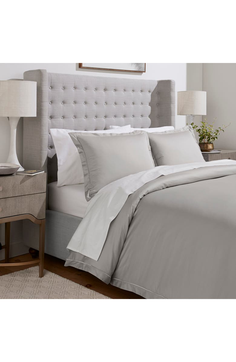 BOLL & BRANCH Embroidered Duvet Cover & Sham Set, Main, color, PEWTER