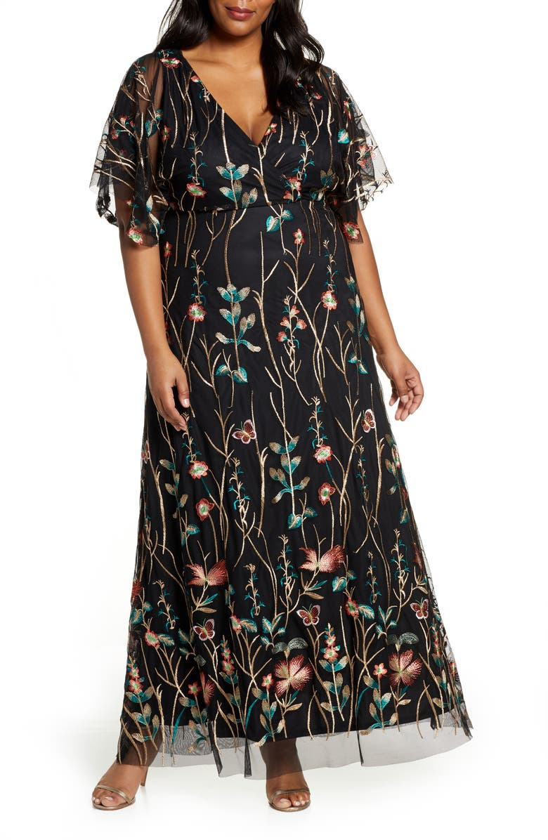 KIYONNA Embroidered Elegance Floral Gown, Main, color, ONYX