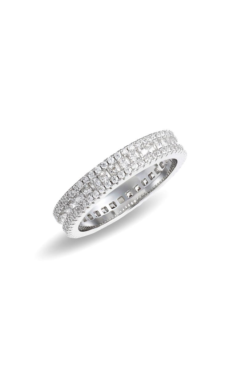 NORDSTROM Sterling Silver & Cubic Zirconia Band Ring, Main, color, CLEAR- SILVER