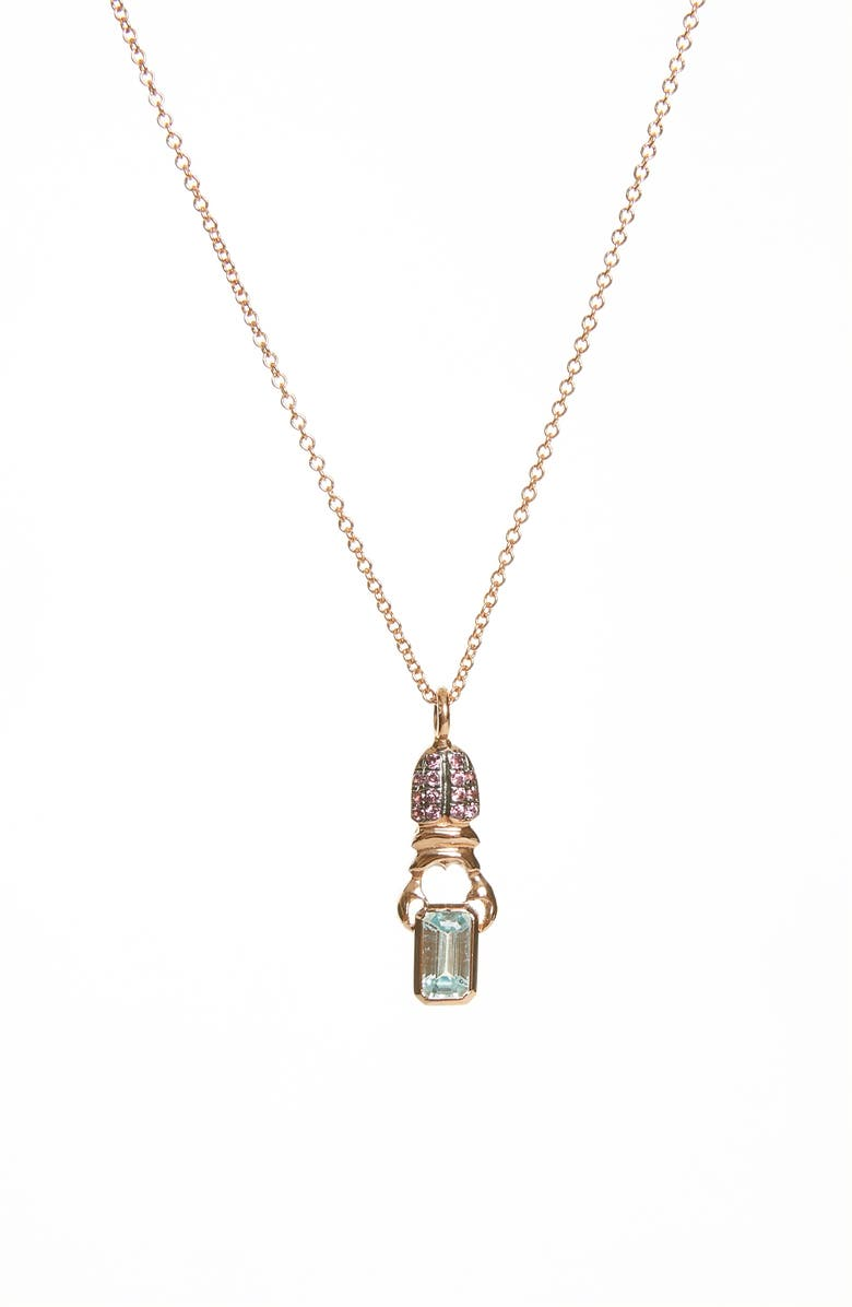 DANIELA VILLEGAS Khepri Pavé Rhodolite & Blue Zircon Pendant Necklace, Main, color, PINK GOLD