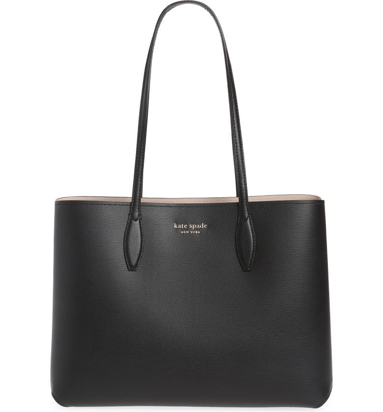 KATE SPADE NEW YORK All Day Large Leather Tote, Main, color, BLACK/ BLACK