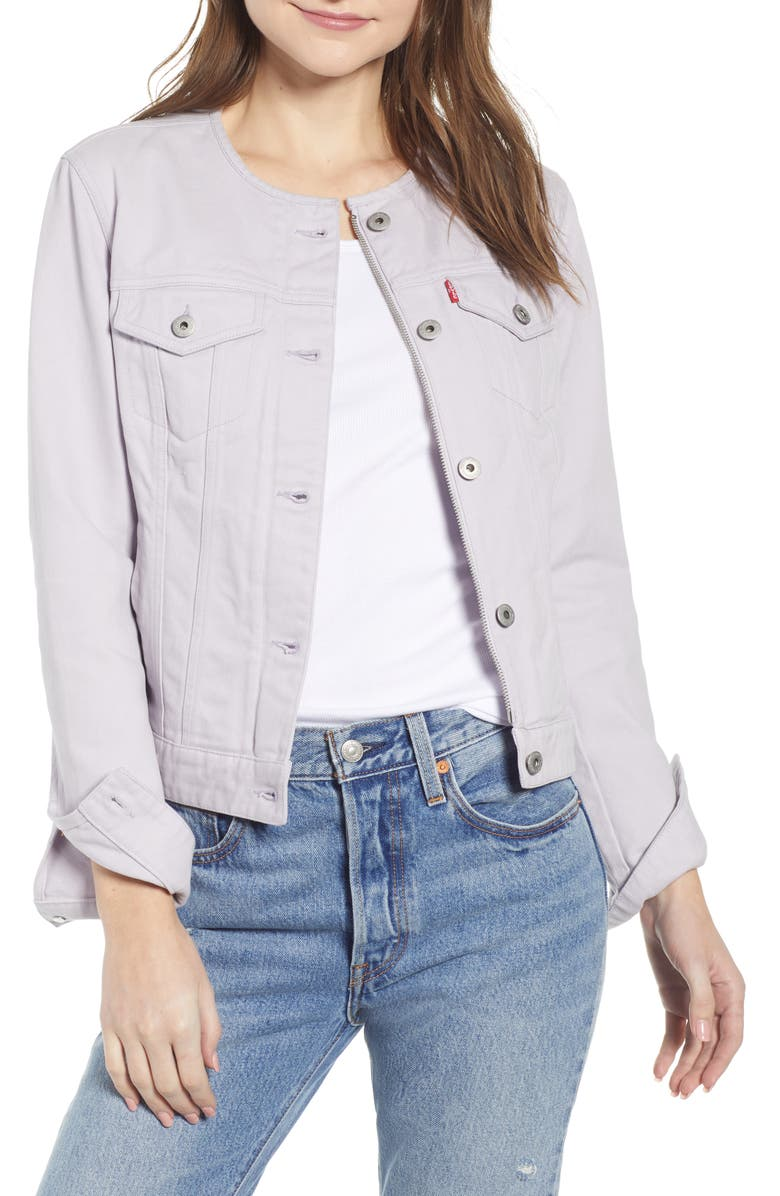 LEVI'S<SUP>®</SUP> Collarless Denim Trucker Jacket, Main, color, LAVENDER THISTLE