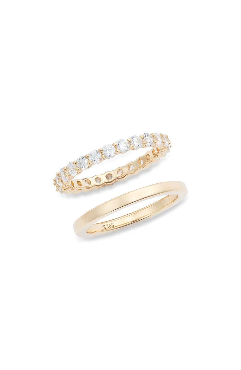 NORDSTROM Set of 2 Band & Pavé Sterling Silver Ring, Main, color, CLEAR- GOLD