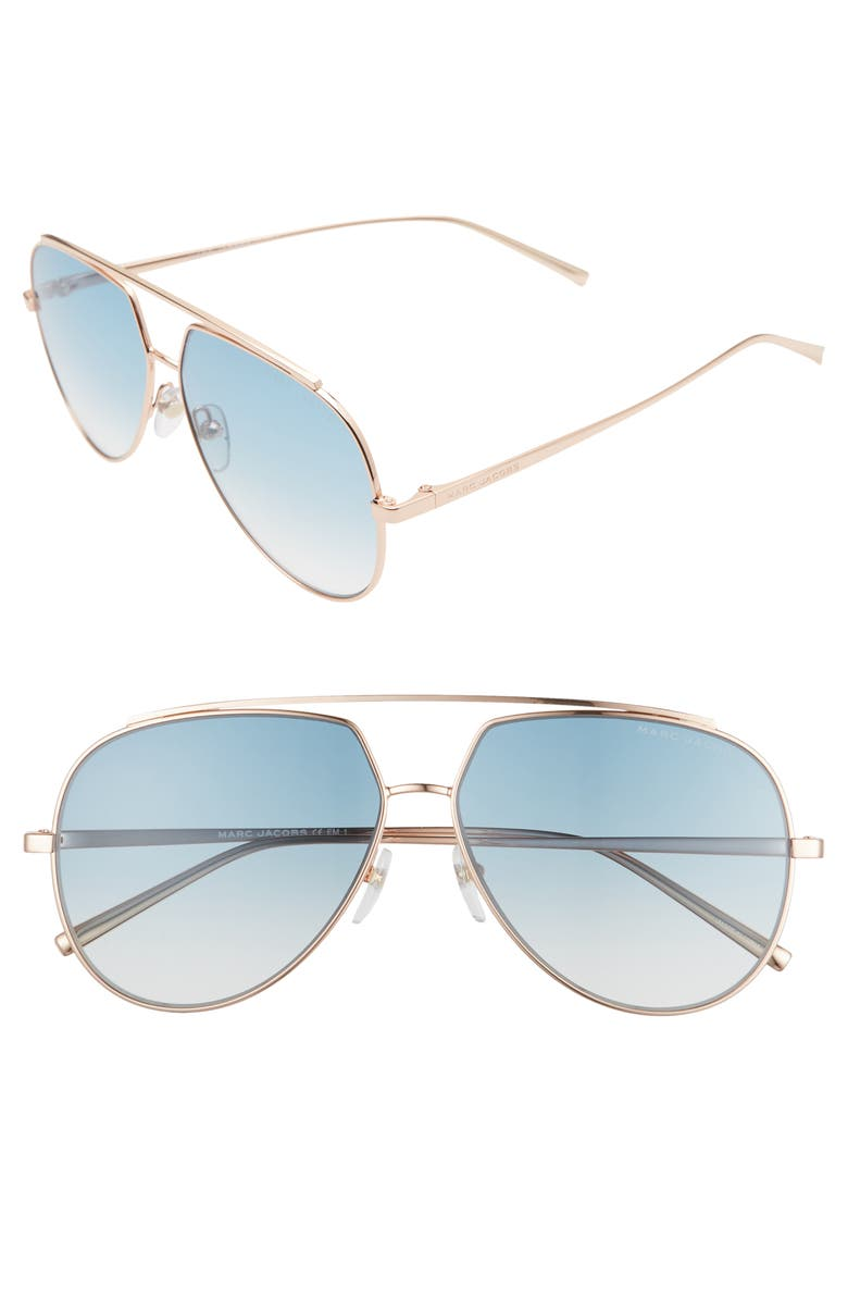 THE MARC JACOBS 59mm Gradient Aviator Sunglasses, Main, color, GOLD/ BROWN