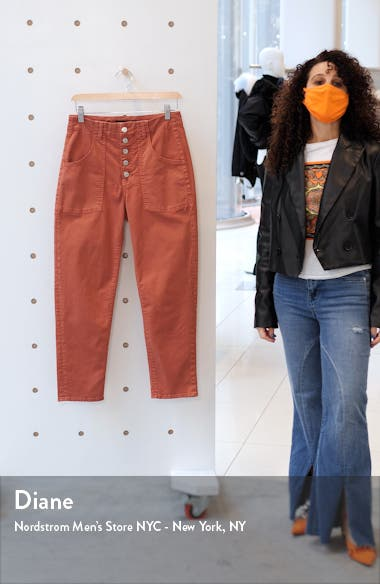 Arya Exposed Button Crop Straight Leg Jeans, sales video thumbnail