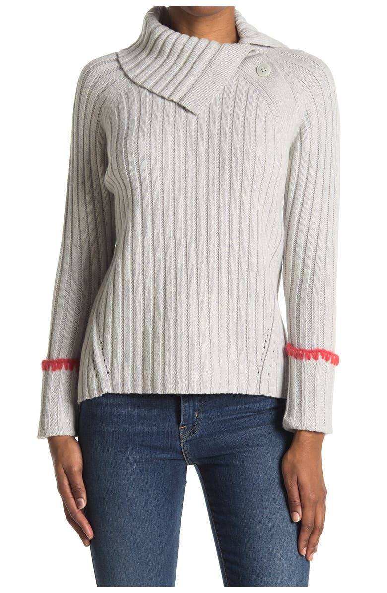 REBECCA TAYLOR Foldover Neck Wool & Cotton Blend Sweater, Main, color, 052