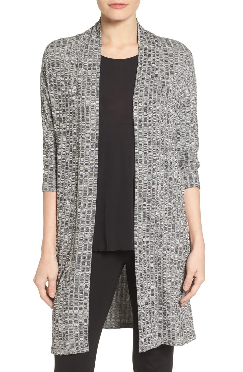 CHAUS Marled Rib Open Front Cardigan, Main, color, RICH BLACK