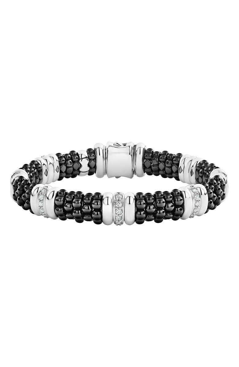 LAGOS LAOGS Black Caviar Diamond 7-Link Bracelet, Main, color, SILVER