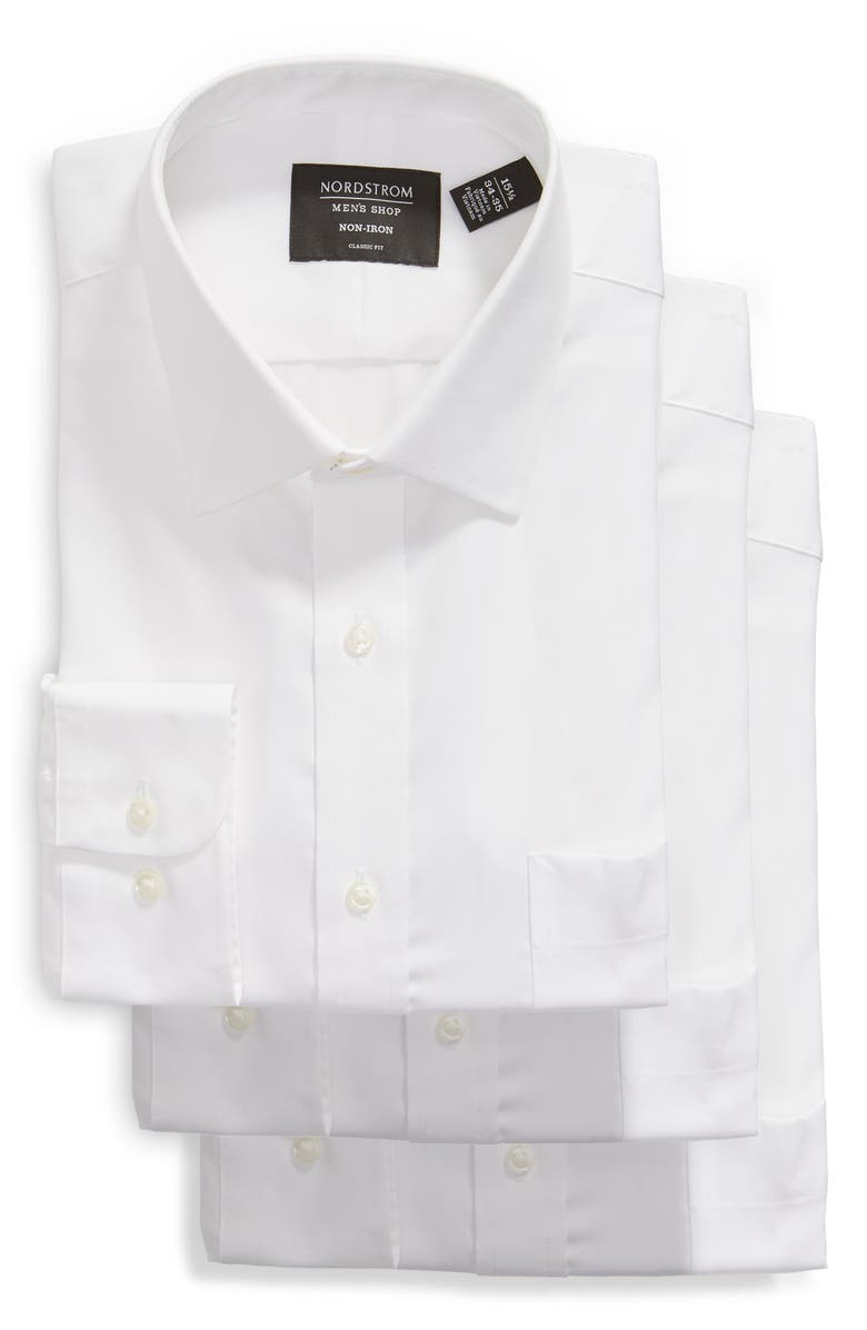 NORDSTROM 3-Pack Classic Fit Non-Iron Dress Shirts, Main, color, 100