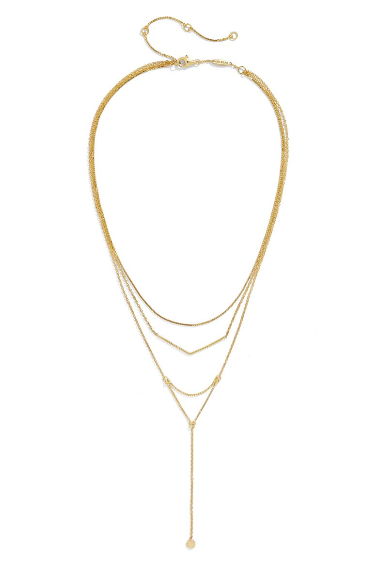 BAUBLEBAR Tris Everyday Connected Y 18-Karat Gold Plate Necklace, Main, color, Gold