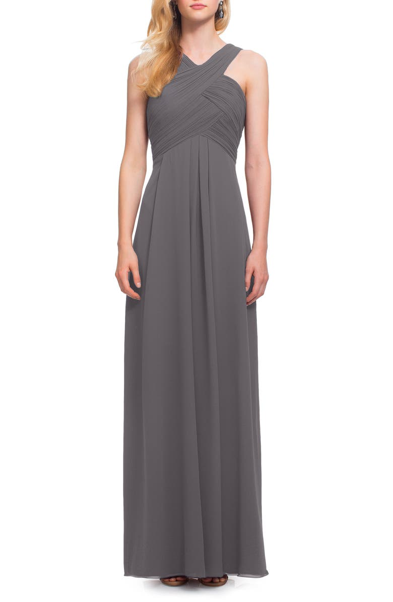 #LEVKOFF Crisscross Neck Chiffon A-Line Gown, Main, color, 021