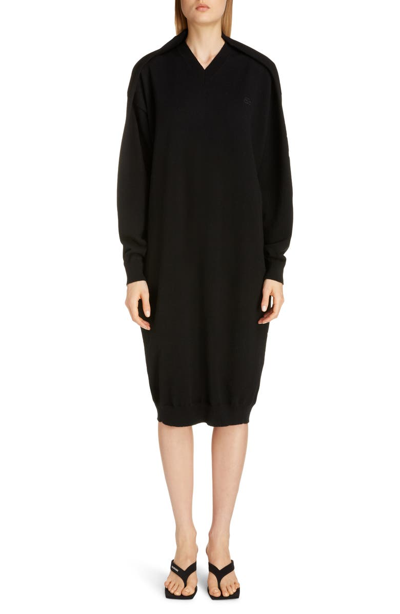 BALENCIAGA Logo Embroidered Pinched Long Sleeve Wool Blend Sweater Dress, Main, color, 001