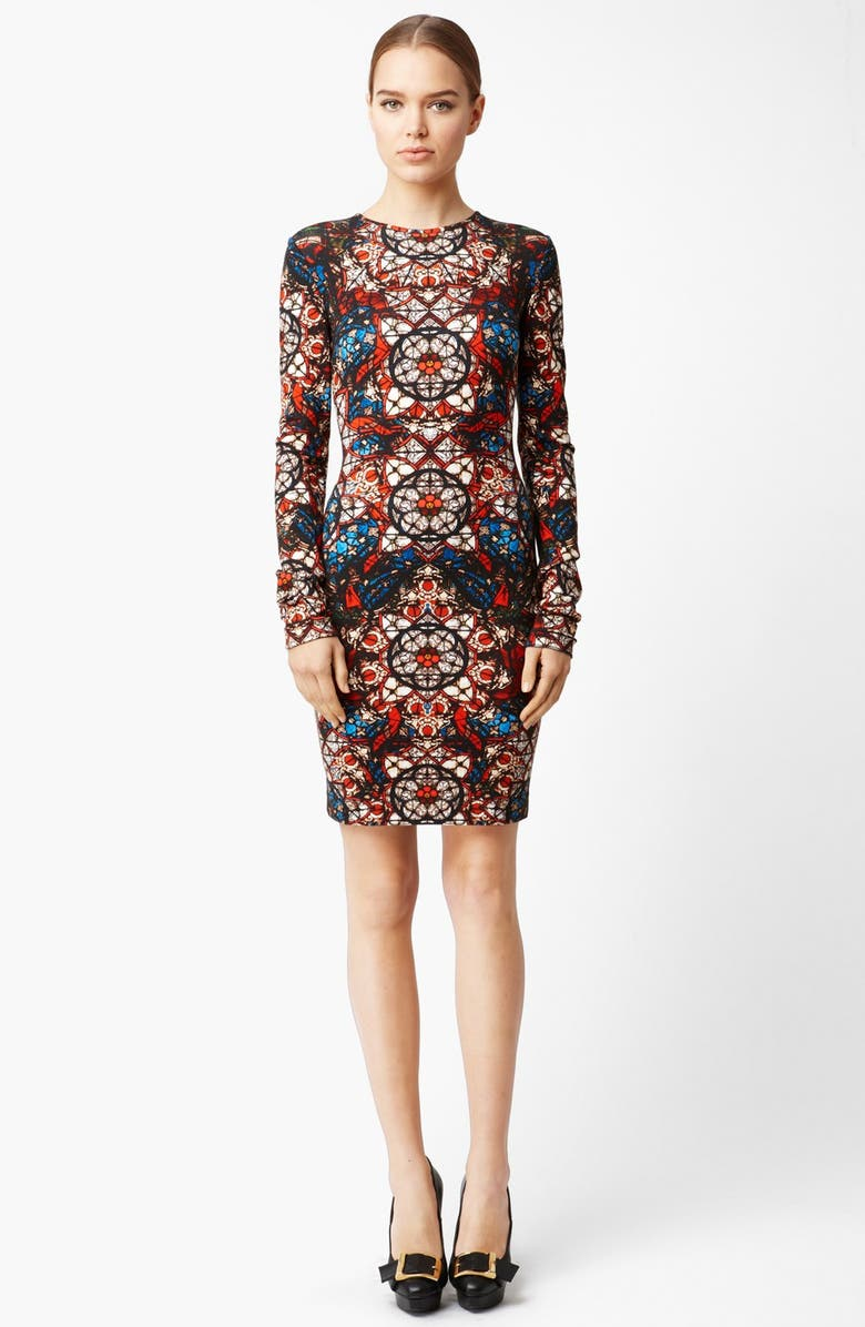 ALEXANDER MCQUEEN Stained Glass Print Jersey Dress, Main, color, GOLD