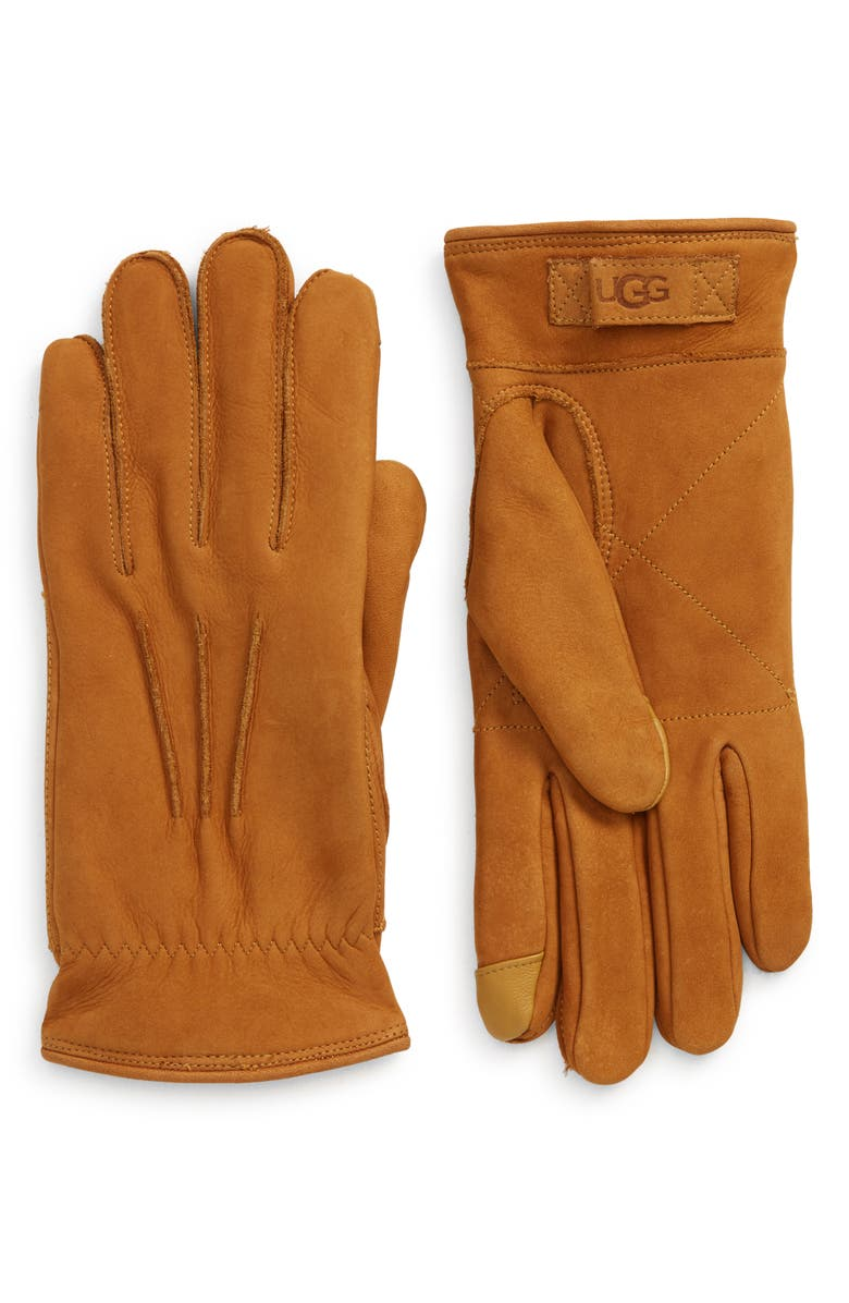 UGG<SUP>®</SUP> Three-Point Leather Tech Gloves, Main, color, CHESTNUT