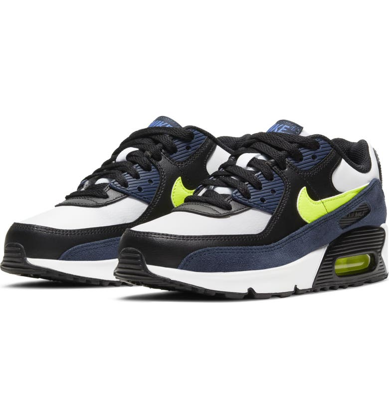 NIKE Air Max 90 Sneaker, Main, color, NAVY/ VOLT/ BLACK/ BLUE