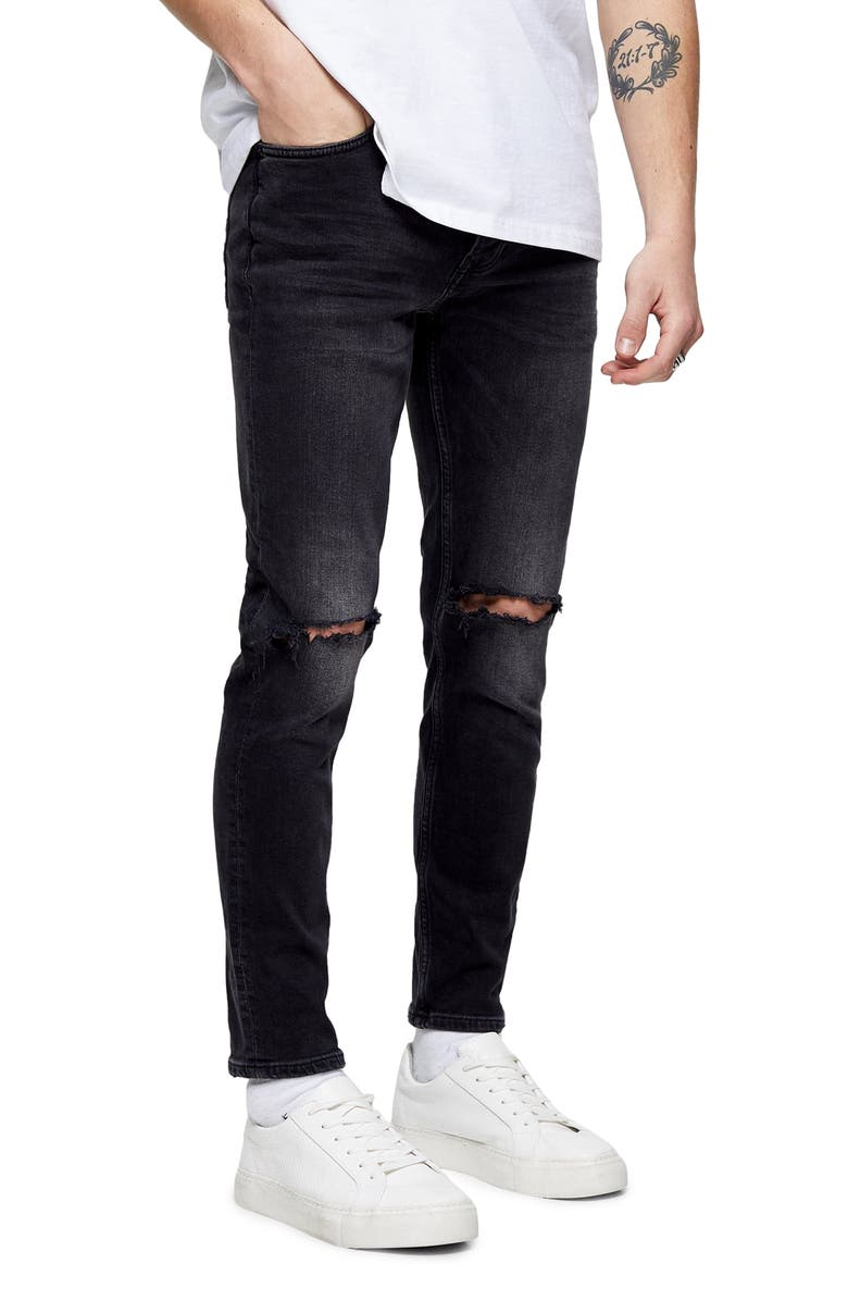 TOPMAN Ripped Skinny Fit Jeans, Main, color, 001