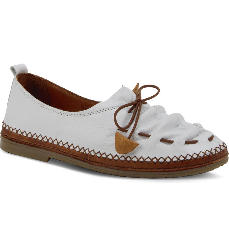 SPRING STEP Berna Flat, Main, color, WHITE LEATHER