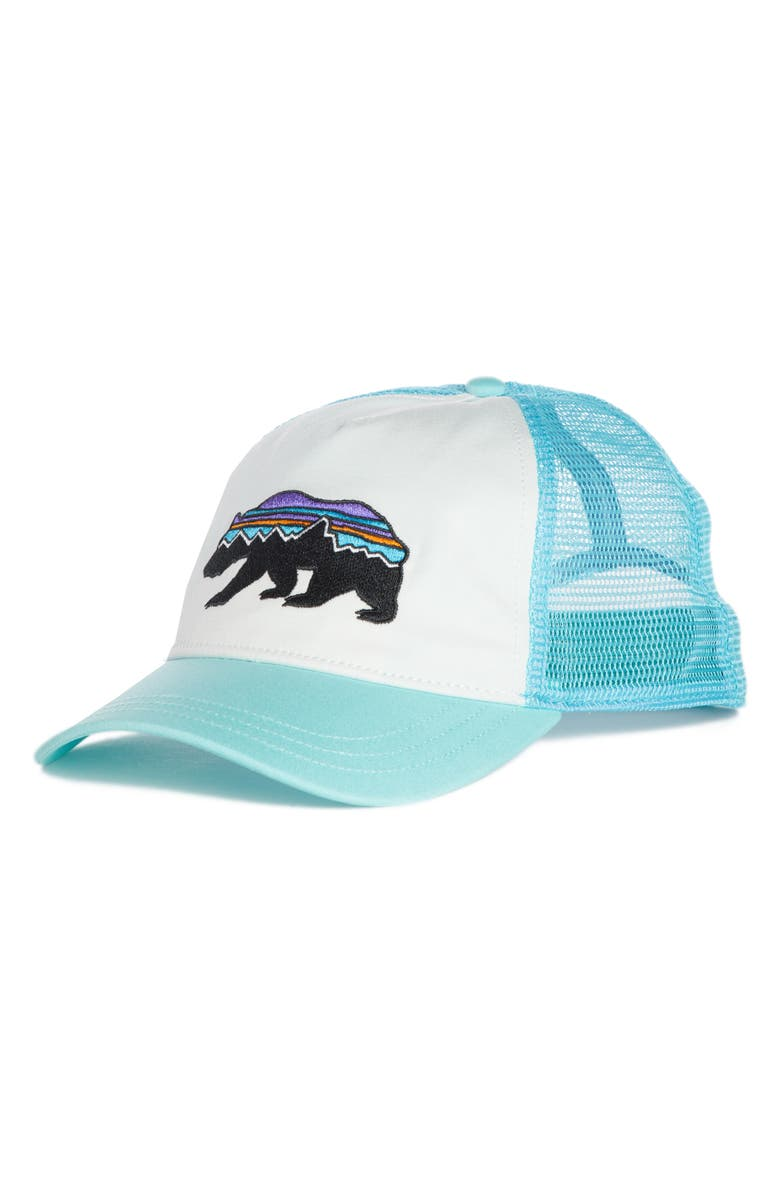 PATAGONIA Fitz Roy Bear Trucker Hat, Main, color, WHITE W/ BEND BLUE