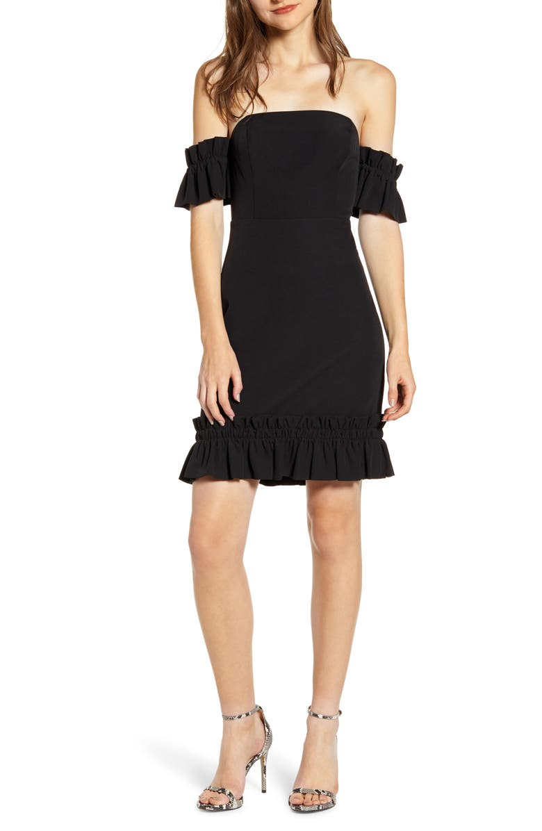 ENDLESS ROSE Ruffle Detail Off the Shoulder Body-Con Dress, Main, color, BLACK