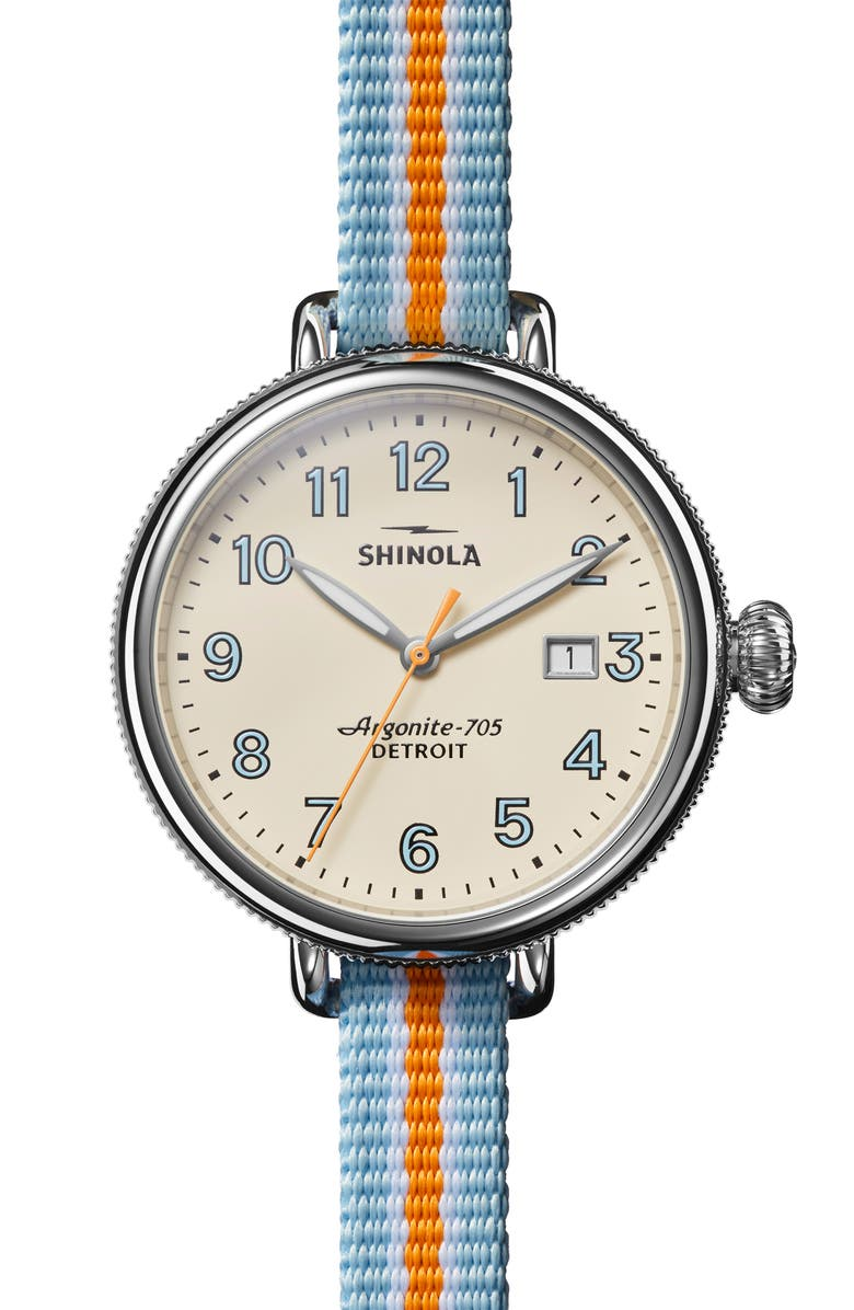 SHINOLA Birdy Reversible Double Wrap Strap Watch, 38mm, Main, color, CREAM/ BLUE