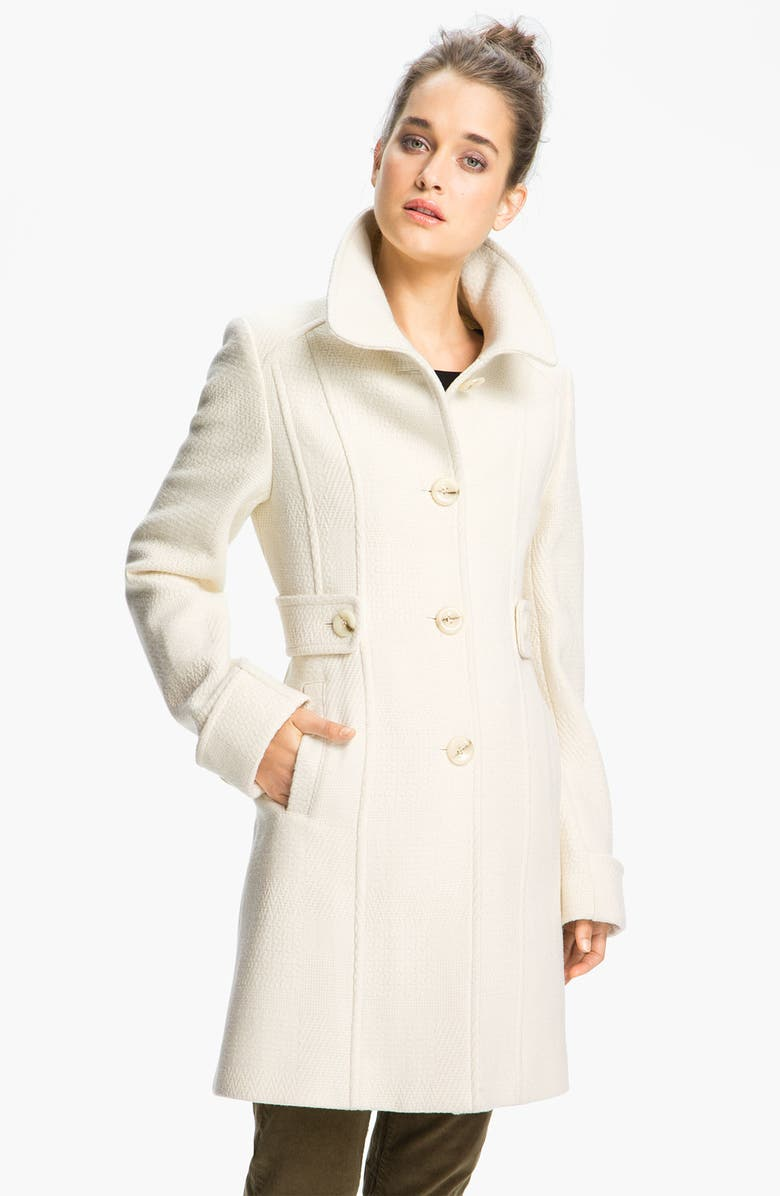 KENNETH COLE NEW YORK Textured Wool Blend Coat, Main, color, VANILLA