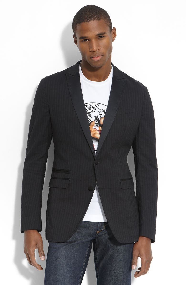 D&G DOLCE & GABBANA D&G Trim Fit Charcoal Stripe Cotton Blend Blazer, Main, color, 027