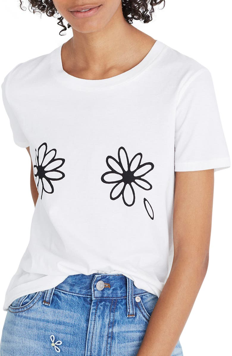 MADEWELL Daisies Graphic Tee, Main, color, WHITE WASH