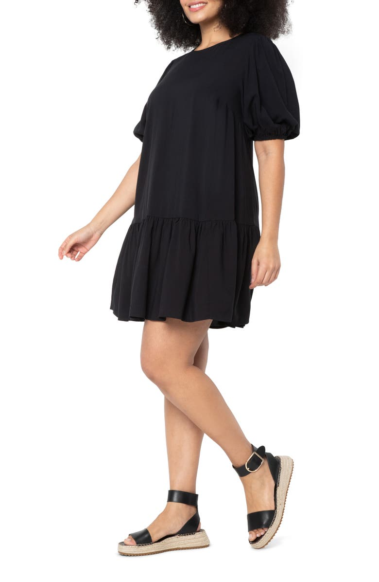 ELOQUII Puff Sleeve Tie Back Dress, Main, color, TOTALLY BLACK