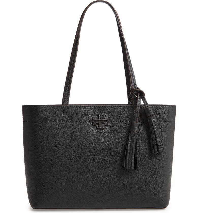 TORY BURCH Small McGraw Leather Tote, Main, color, 001