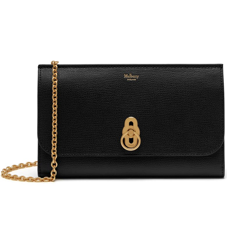 MULBERRY Amberley Calfskin Leather Clutch, Main, color, Black