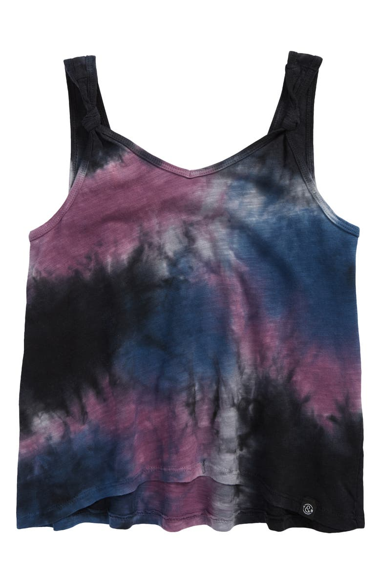 TREASURE & BOND Kids' Tie Dye Knot Tank, Main, color, NAVY DENIM MULTI TIE DYE