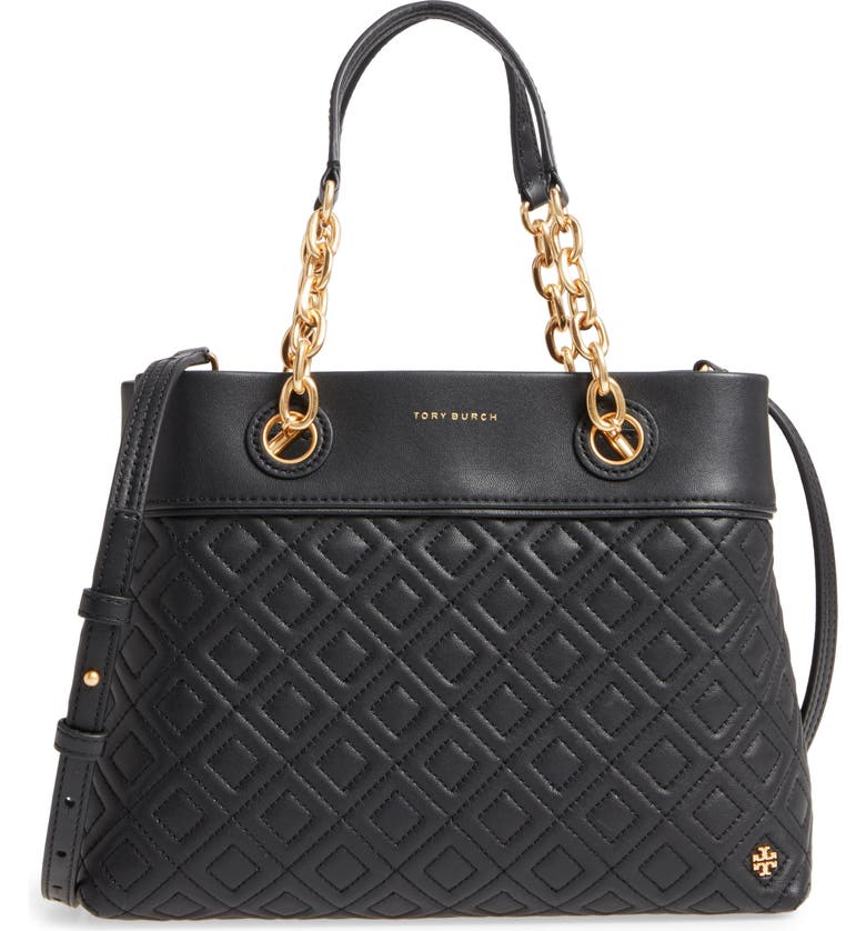 TORY BURCH Small Fleming Leather Tote, Main, color, Black