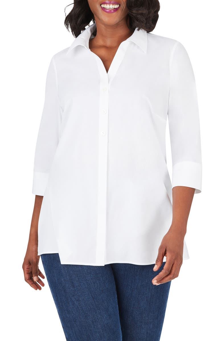 FOXCROFT Pamela Non-Iron Stretch Tunic Blouse, Main, color, WHITE
