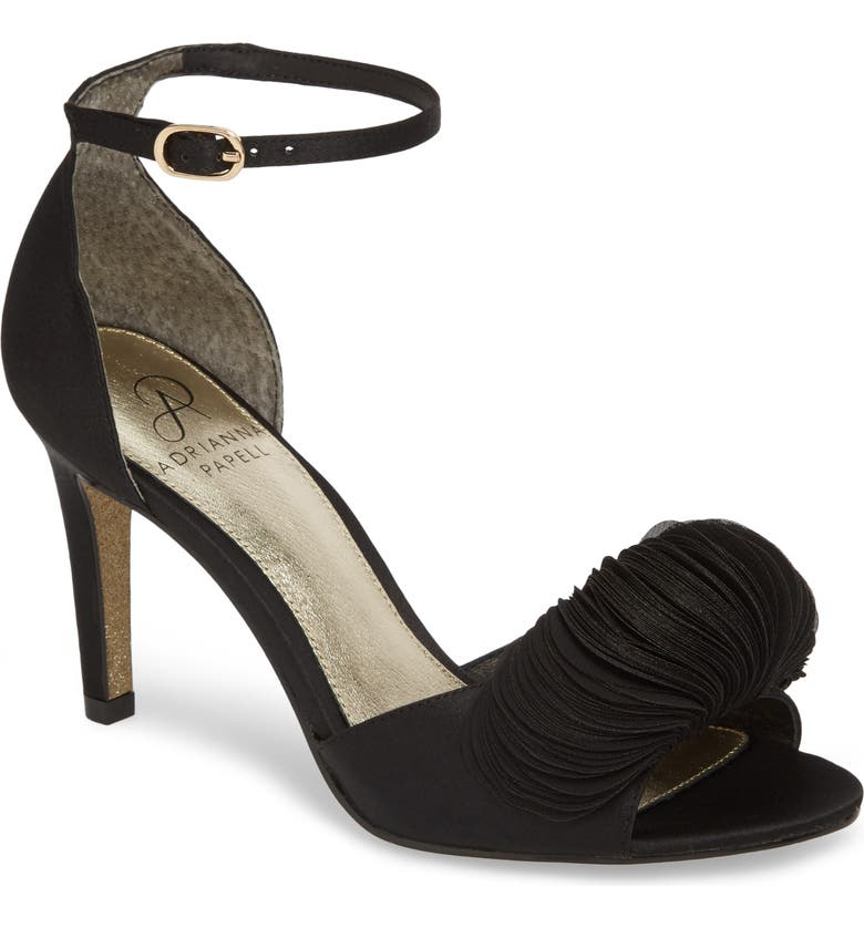 ADRIANNA PAPELL Gracie Ankle Strap Sandal, Main, color, BLACK FABRIC