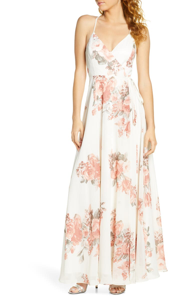 LULUS Elegantly Inclined Floral Print Wrap Gown, Main, color, CREAM/ MAUVE FLORAL