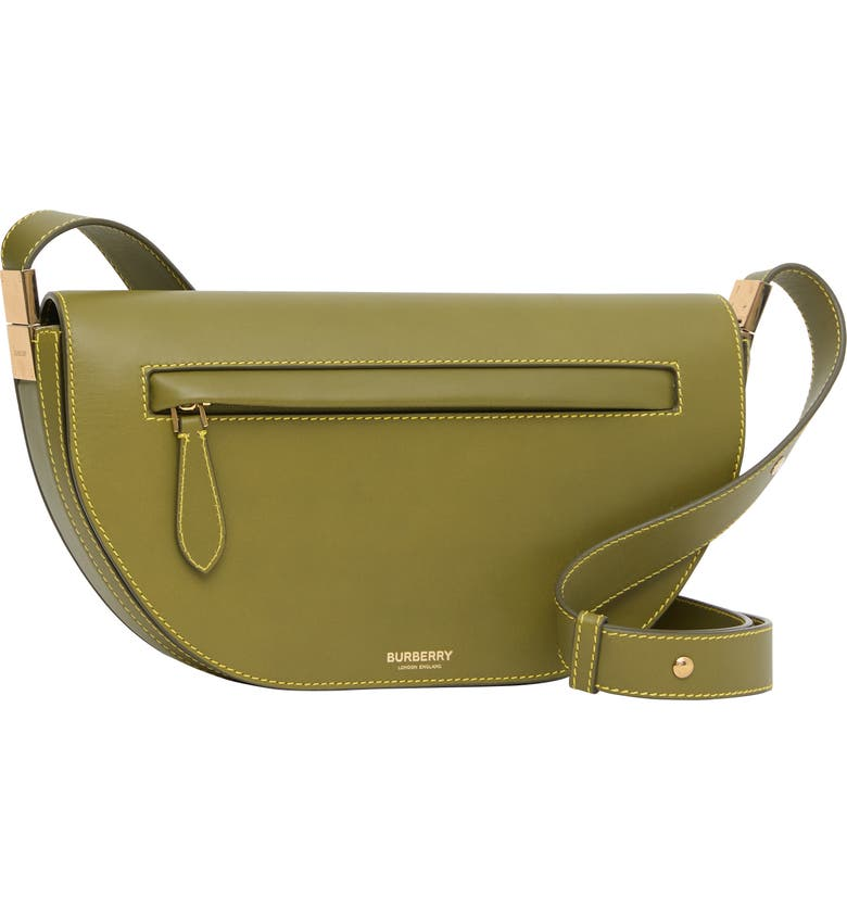BURBERRY Small Olympia Leather Bag, Main, color, JUNIPER GREEN