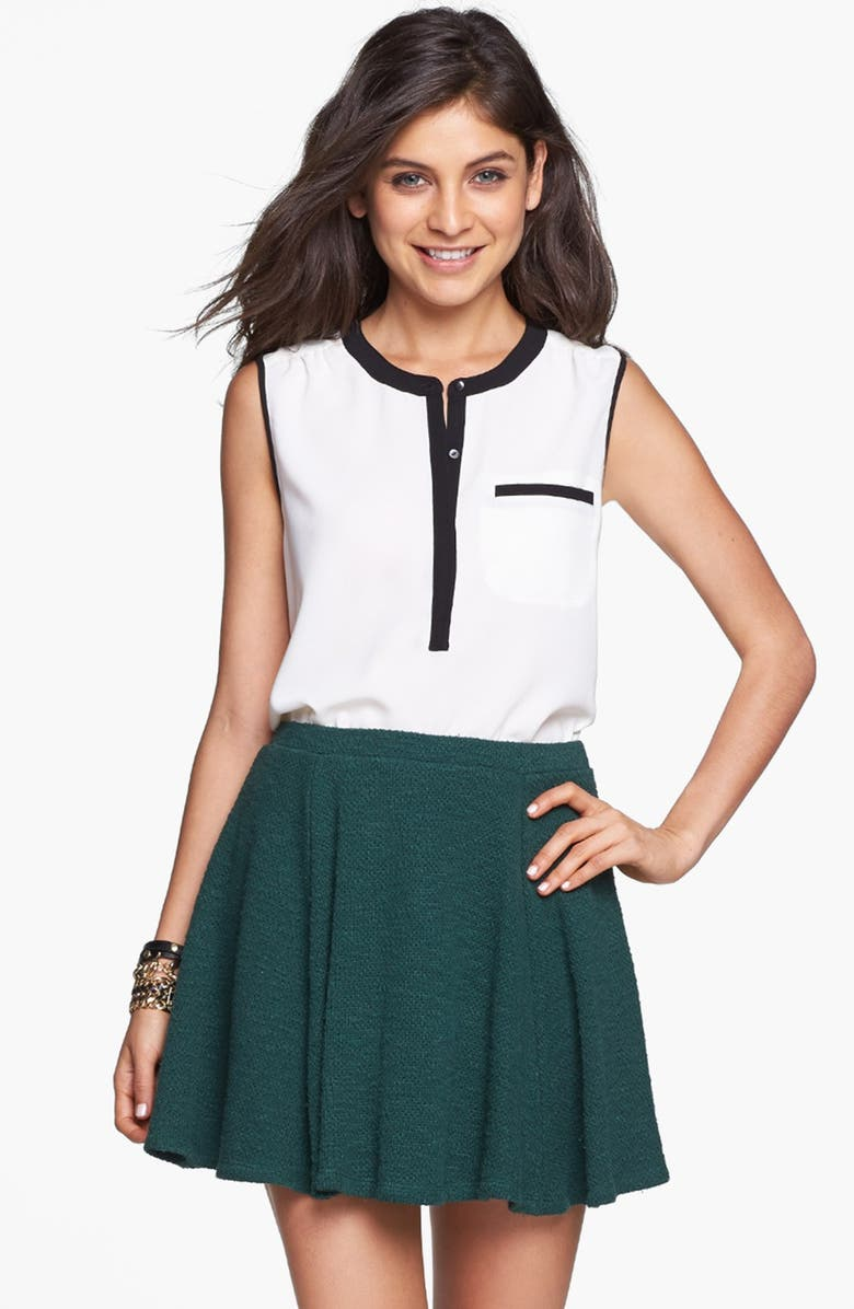 LILY WHITE Knit Skater Skirt, Main, color, FOREST GREEN