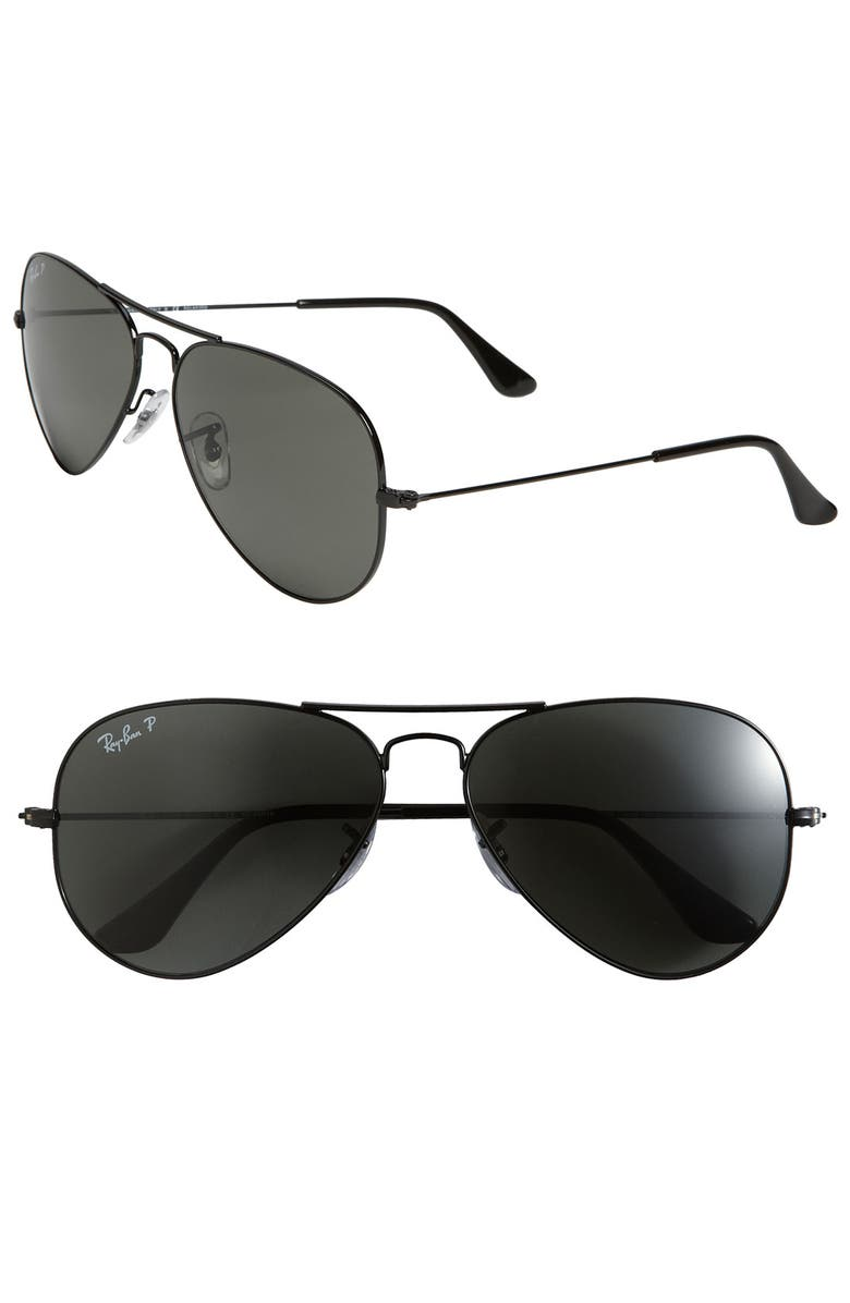 RAY-BAN 'Polarized Original Aviator' 58mm Sunglasses, Main, color, 001