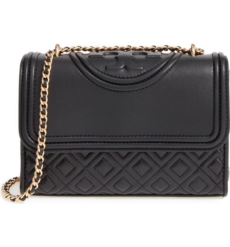TORY BURCH 'Small Fleming' Quilted Leather Shoulder Bag, Main, color, BLACK