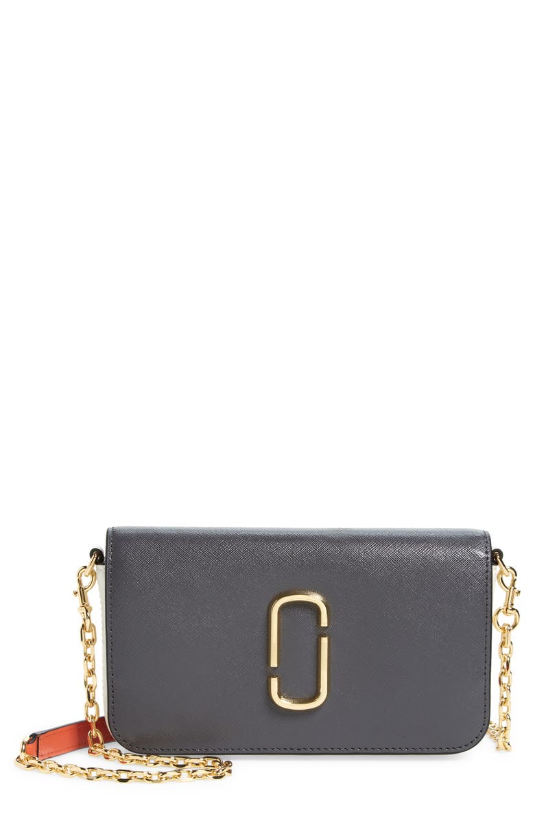 MARC JACOBS The Marc Jacobs The Snapshot Leather Wallet on a Chain, Main, color, CYLINDER GREY MULTI